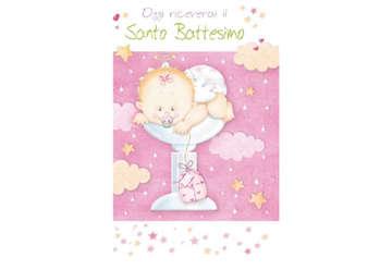 Immagine di Biglietto battesimo design rosa con glitter