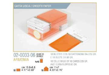 Immagine di Blister 10buste + 10biglietti armonia 7x11 f4 arancio