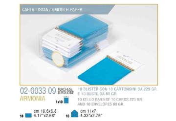 Immagine di Blister 10buste + 10biglietti armonia 7x11 f4 turchese