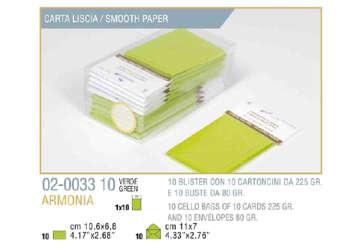 Immagine di Blister 10buste + 10biglietti armonia 7x11 f4 verde mela