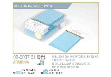 Immagine di Blister 10buste + 10biglietti armonia 9x14 f9 azzurro
