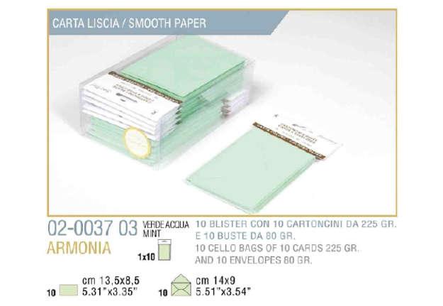 Immagine di Blister 10buste + 10biglietti armonia 9x14 f9 verde pastello