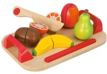 Immagine di Vassoio con frutta da tagliare in legno 12pz