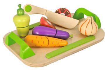 Immagine di Vassoio con verdura da tagliare in legno 12 pz