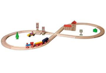 Immagine di Eichhorn pista a 8 cm.290 inclusi treno 3 pz e 35 pz accessori in legno