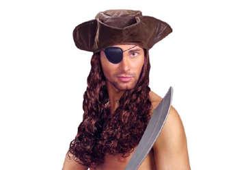 Immagine di Cappello tricorno pirata similpelle con parrucca