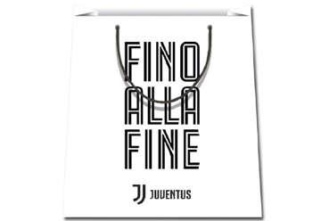 "Immagine di Shopper Juventus 26x32x12cm bianca ""Fino alla fine"""