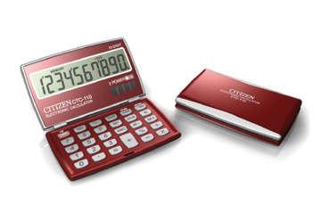 Immagine di Calcolatrice tascabile 10 cifre con coperchio rosso