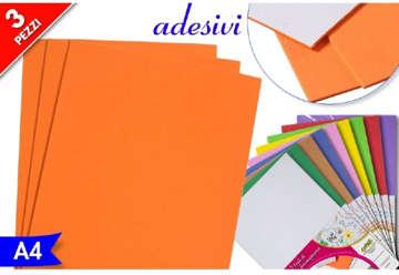 Immagine di Busta 3pz Foglio adesivo gommato A4 colori assortiti