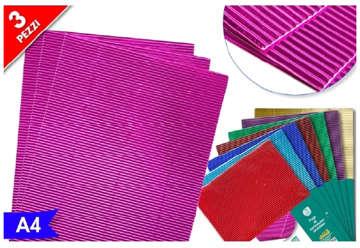 Immagine di Busta 3pz Foglio metallizzato A4 colori assortiti