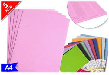 Immagine di Busta 5pz Foglio gommato A4 colori assortiti