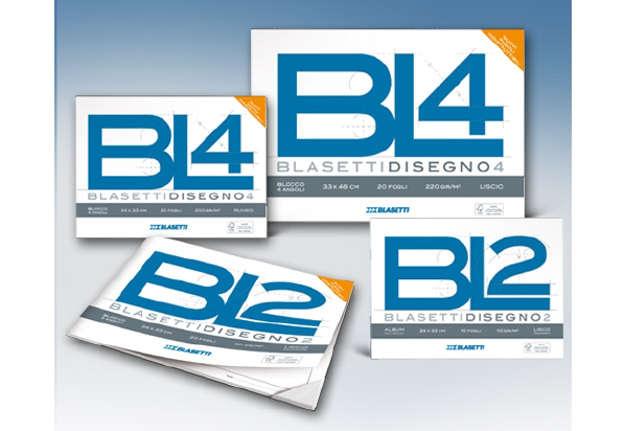 Immagine di BL4 blocco 4 angoli 20 fogli lisci riquadro 24x33cm 220gr
