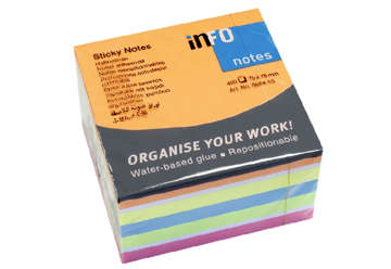 Immagine di Post-it fluo sticky notes cubo 7.5x7.5cm