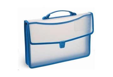 Immagine di Cartella in PP semitrasparente manico blu 27x38cm