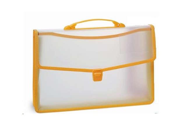 Immagine di Cartella in PP semitrasparente manico gialla 27x38cm