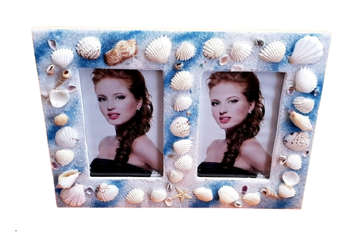 Immagine di Portafoto doppio con conchiglie 22x30cm