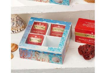 Immagine di Scatola quadrata porta tè e tisane con 4 scomparti 18x18x7cm