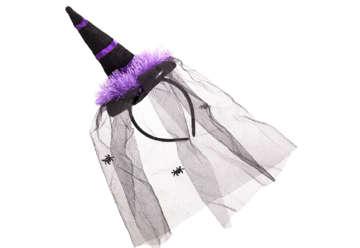 Immagine di Diadema cappello strega con velo 5x2x27cm