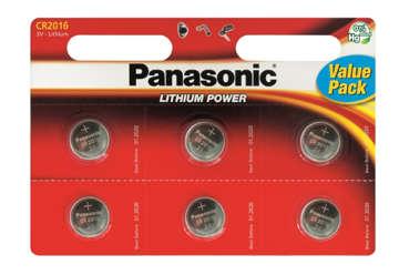 Immagine di Blister 6 micropile a litio Panasonic cr2016