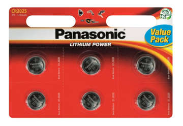 Immagine di Blister 6 micropile a litio panasonic cr2025