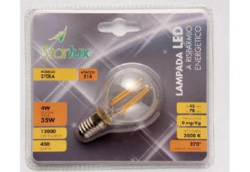 Immagine di LAMPADINA SFERA FILAMENTI LED E14 4W