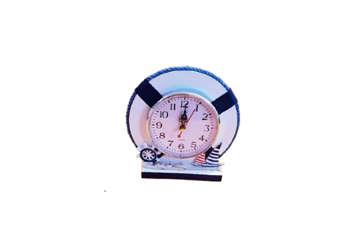 Immagine di Orologio salvagente in legno bianco e blu