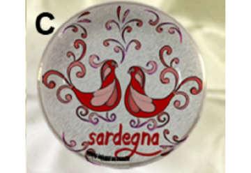 Immagine di Magnete piattino pavoncella Sardegna rosso 7cm