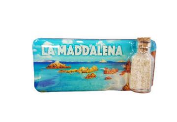 Immagine di Magnete rettangolare La Maddalena con bottiglietta sabbia e conchiglie