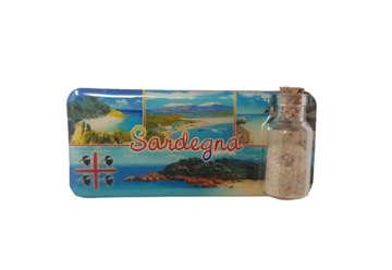 Immagine di Magnete rettangolare Sardegna con bottiglietta, sabbia e conchiglie