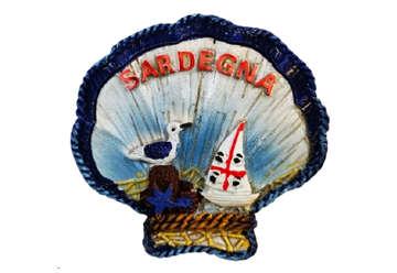 Immagine di Magnete in resina Conchiglia e gabbiano Sardegna