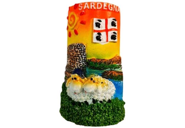 Immagine di Magnete Sardegna tegola nuraghe e pecorelle 4 Mori