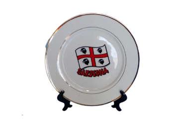 Immagine di Piatto Sardegna in ceramica con bordo oro 20cm