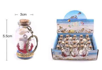 Immagine di Portachiave bottiglietta Sardegna sabbia conch con ancora