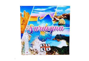 Immagine di Mattonella ceramica Sardegna con termometro 21x21cm