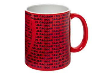 Immagine di Tazza mug rossa con scritta blu Cagliari 1920