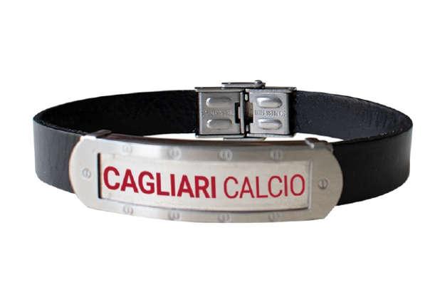 Immagine di Bracciale in cuoio con piastra acciaio Cagliari 1920
