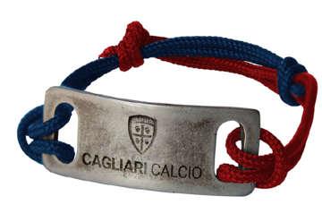 Immagine di Bracciale in corda nautica r/b e piastra in acciaio con logo Cagliari 1920