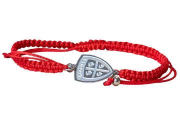 Immagine di Bracciale in corda rosso con logo in acciaio Cagliari 1920