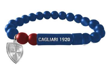 Immagine di Bracciale in pietre dure blu con chiusura ad incastro e logo Cagliari 1920