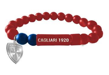 Immagine di Bracciale in pietre dure rosso con chiusura ad incastro e logo Cagliari 1920
