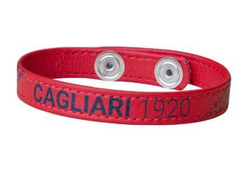 Immagine di Bracciale in pelle rossa con scritta blu Cagliari 1920