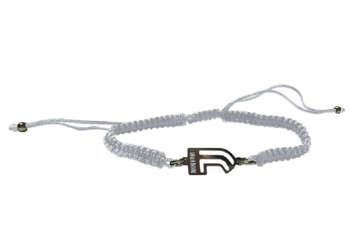 """Immagine di Bracciale in corda bianco e """"J"""" in acciaio"""