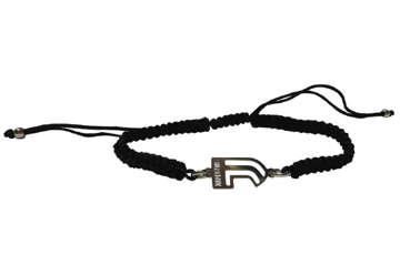 """Immagine di Bracciale in corda nero e stemma Juve """"J"""" in acciaio"""