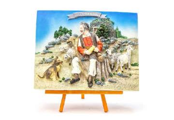 Immagine di Quadretto pastore con trespolo 8x10cm