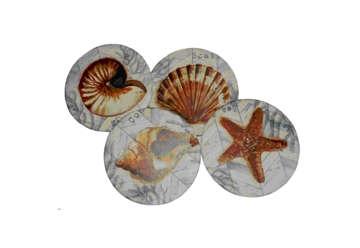 Immagine di Set 4 sottobicchiere legno e ceramica soggetti marini assortiti 10.8cm