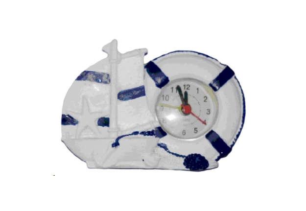 Immagine di Barchetta e salvagente con orologio in resina bianco e blu