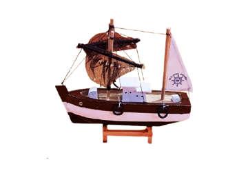 Immagine di Peschereccio in legno con rete 20cm colori assortiti