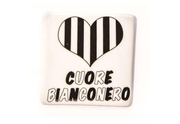 Immagine di Magnete Cuore Bianconero in ceramica