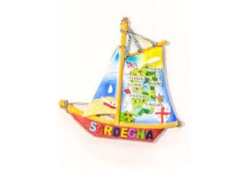 Immagine di Magnete Barca con mappa Sardegna in resina