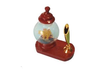 Immagine di Bottiglia in vetro con barca legno portapenne